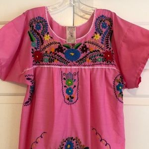 Mexican dress in pink Hans embroidered vintage